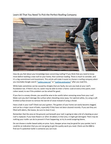Learn All That You Need To Pick the Perfect Roofing Company