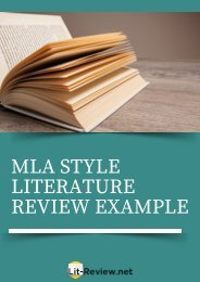 Excellent MLA Style Literature Review Example