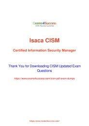 Isaca CISM Exam Dumps [2018 NOV] - 100% Valid Questions