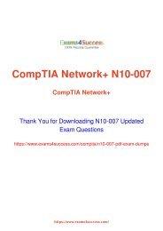 CompTIA N10-007 Exam Dumps [2018 NOV] - 100% Valid Questions
