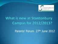 Presentation from Parents' Forum Meeting June 2012 - Stantonbury ...