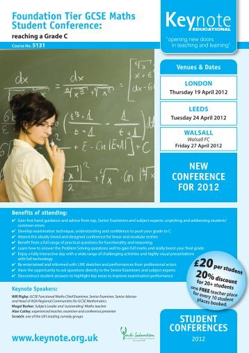 Foundation Tier GCSE Maths Student Conference: - Keynote ...
