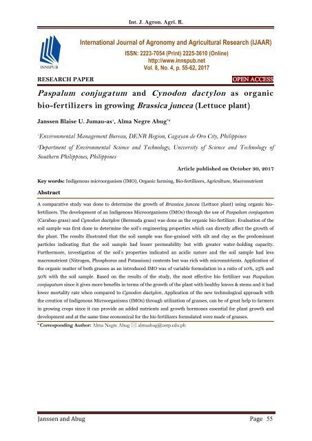 Paspalum conjugatum and Cynodon dactylon as organic bio-fertilizers in growing Brassica juncea (Lettuce plant)