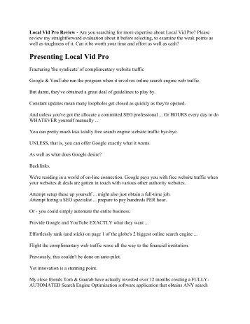 Should You Buy Local Vid Pro