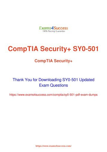 CompTIA SY0-501 Exam Dumps [2018 NOV] - 100% Valid Questions