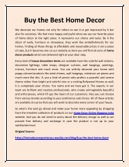 Buy the Best Home Decor