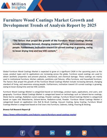 Furniture Wood Coatings Market Growth and Development Trends of Analysis Report by 2025