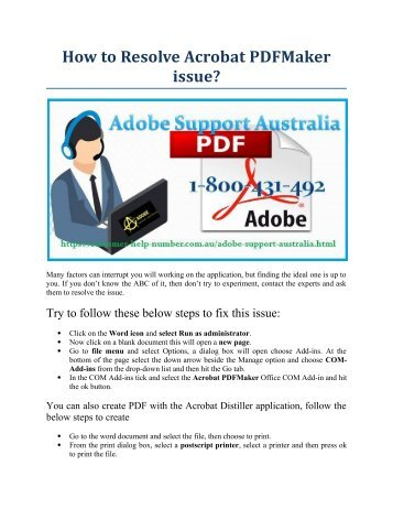 How to Resolve Acrobat PDFMaker issue