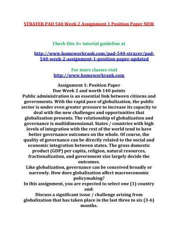 STRAYER PAD 540 Week 2 Assignment 1 Position Paper NEW