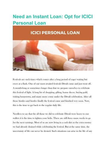 Need an Instant Loan Opt for ICICI Personal Loan