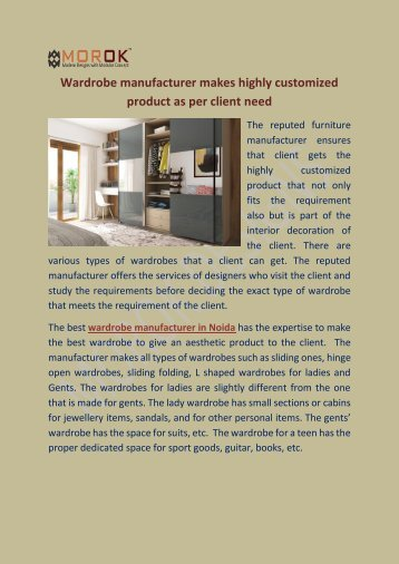 Wardrobe manufacturer makes highly customized product as per client need