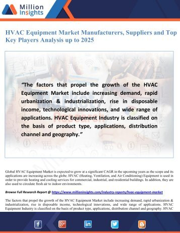 HVAC Equipment Market Manufacturers, Suppliers and Top Key Players Analysis up to 2025
