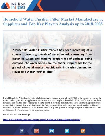 Household Water Purifier Filter Market Manufacturers, Suppliers and Top Key Players Analysis up to 2018-2025