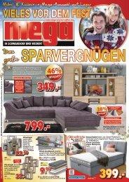Möbel & Küchen in Mega Auswahl auf Lager - vieles vor dem Fest: das große Sparvergnügen bei Mega Möbel in Schwandorf und Weiden