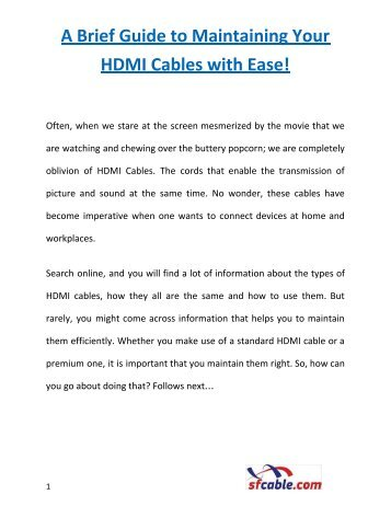 A Brief Guide to Maintaining Your HDMI Cables with Ease!