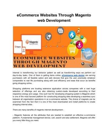 eCommerce Websites Through Magento web Development
