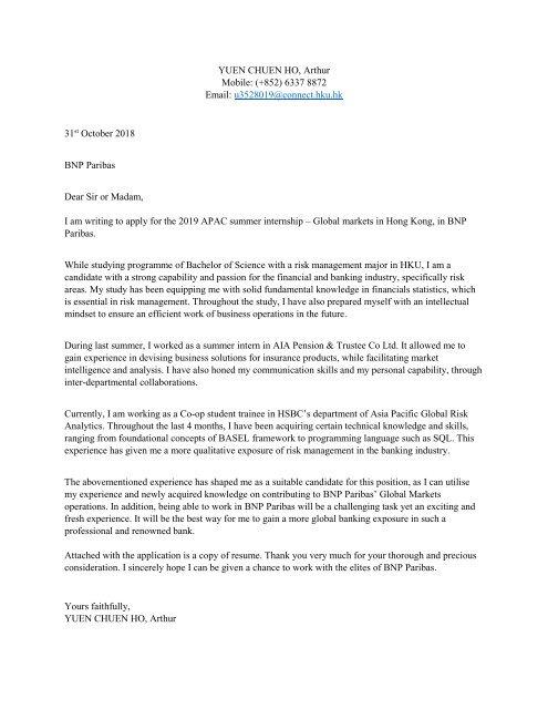 BNP Paribas cover letter