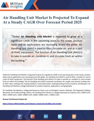 Air Handling Unit Market Is Projected To Expand At A Steady CAGR Over Forecast Period 2025
