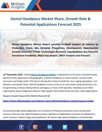 Dental Handpiece Market Share, Growth Rate & Potential Applications Forecast 2025