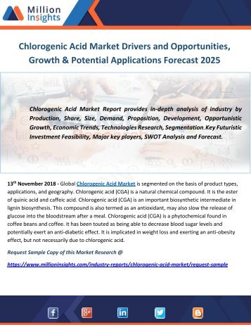 Chlorogenic Acid Market Drivers and Opportunities, Growth & Potential Applications Forecast 2025
