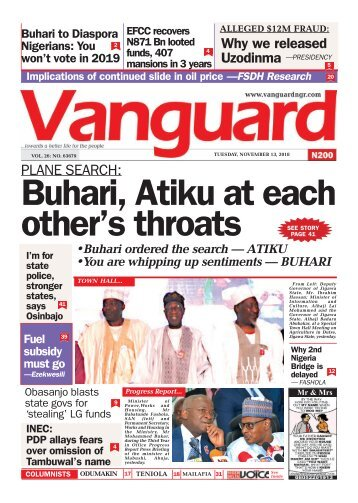 13112018 - PLANE SEARCH : Buhari, Atiku at each other's throats