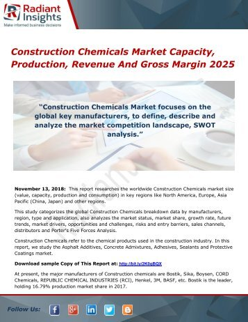 Construction Chemicals Market Capacity, Production, Revenue And Gross Margin 2025