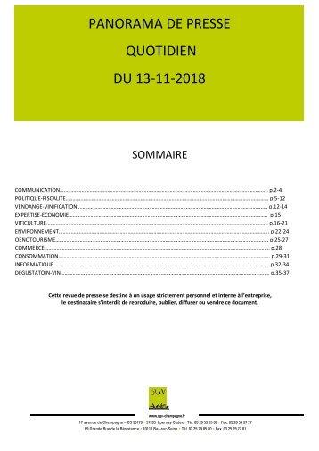 Panorama de presse quotidien du 13-11-2018
