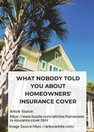 What Nobody Told You About Homeowners' Insurance Cover