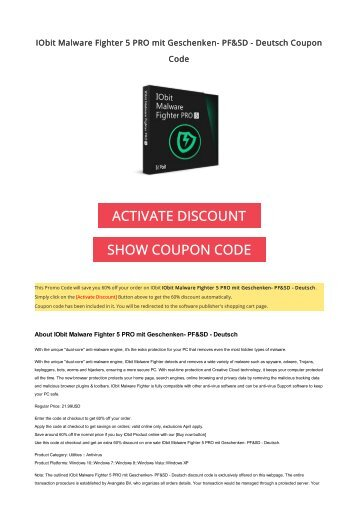 IObit Malware Fighter 5 PRO mit Geschenken- PF&SD - Deutsch Coupon Code 2017 Discount OFFER