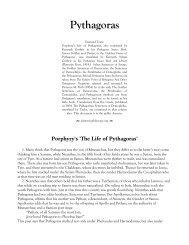 Porphyry's 'The Life of Pythagoras' - Platonic Philosophy