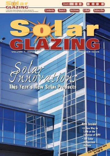 This Year's New Solar Products - Solar Glazing Magazine