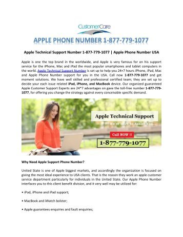 Get Best Apple Technical Support Number 1-877-779-1077 in USA