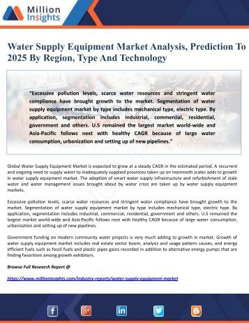 Water Supply Equipment Market Analysis, Prediction To 2025 By Region, Type And Technology