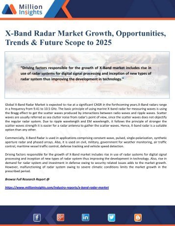 X-Band Radar Market Growth, Opportunities, Trends & Future Scope to 2025