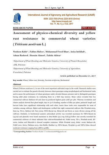 Assessment of physico-chemical diversity and yellow rust resistance in commercial wheat varieties (Triticum aestivum L.)