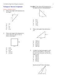 Pythagoras' theorem Assignment Name