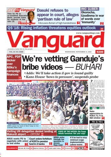 14112018 - We're vetting Ganduje's bribe videos — BUHARI