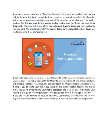 How Knowband's Magento Android/iOS mobile app can improve traffic and sale of your Magento store?