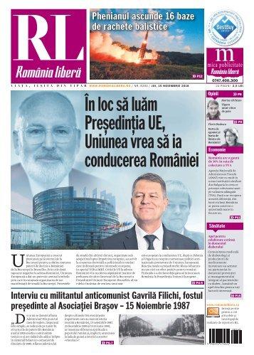 România liberă, joi, 15 noiembrie 2018