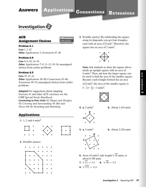 Answers Investigation 2 A