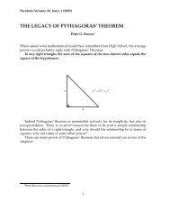 THE LEGACY OF PYTHAGORAS' THEOREM - Parabola