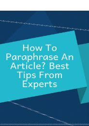 How To Paraphrase An Article? Best Tips From Experts