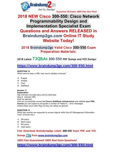 [Full-Version]2018 Braindump2go New 300-550 Dumps PDF 73Q Free Offer(Q12-Q22)