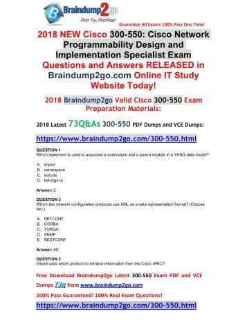 [Full-Version]2018 Braindump2go New 300-550 PDF and VCE Dumps 73Q Free Offer(Q1-Q11)