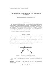 THE AXIOMS FOR PLANE GEOMETRY AND PYTHAGORAS ...