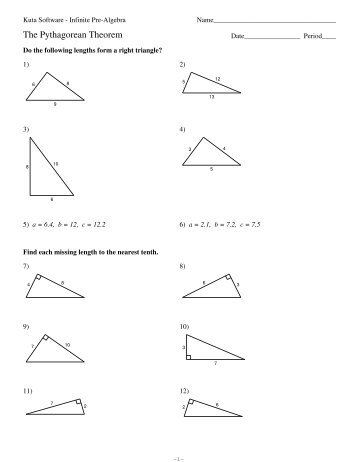 Ideas Free Math Worksheet Pythagorean Theorem On
