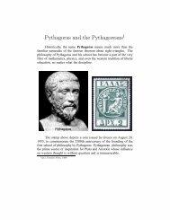 Pythagoras and the Pythagoreans - Department of Mathematics