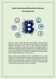 Need Australian Blockchain Software Development