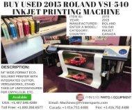 Buy Used 2015 Roland VSI-540 InkJet Printing Machine