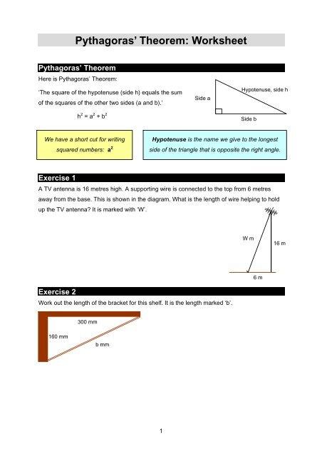 Pythagoras' Theorem: Worksheet
